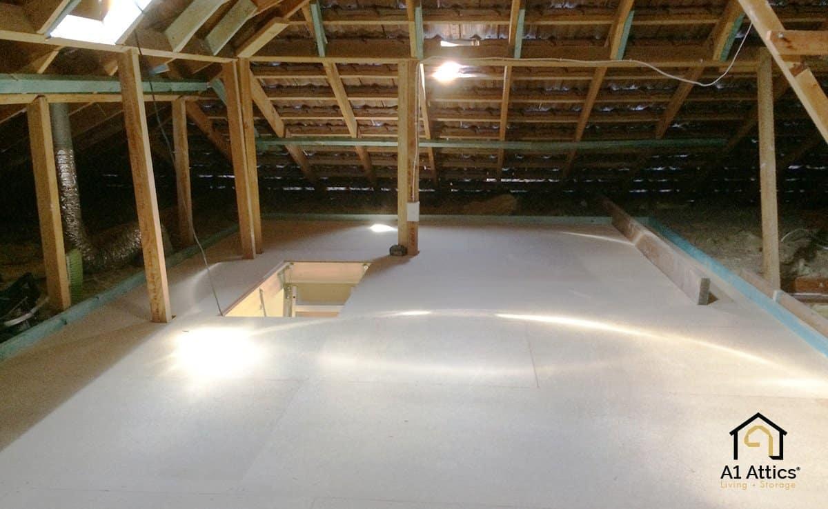 attic storage room after
