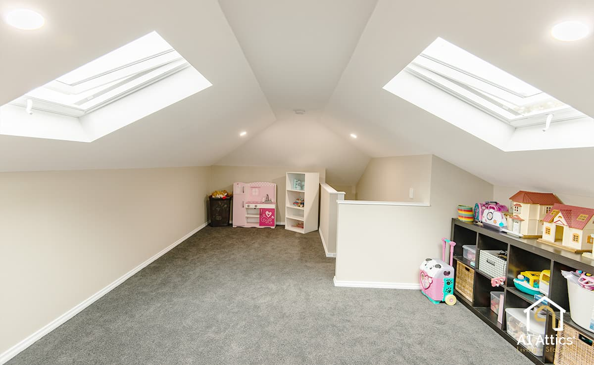 attic conversion project kids playroom